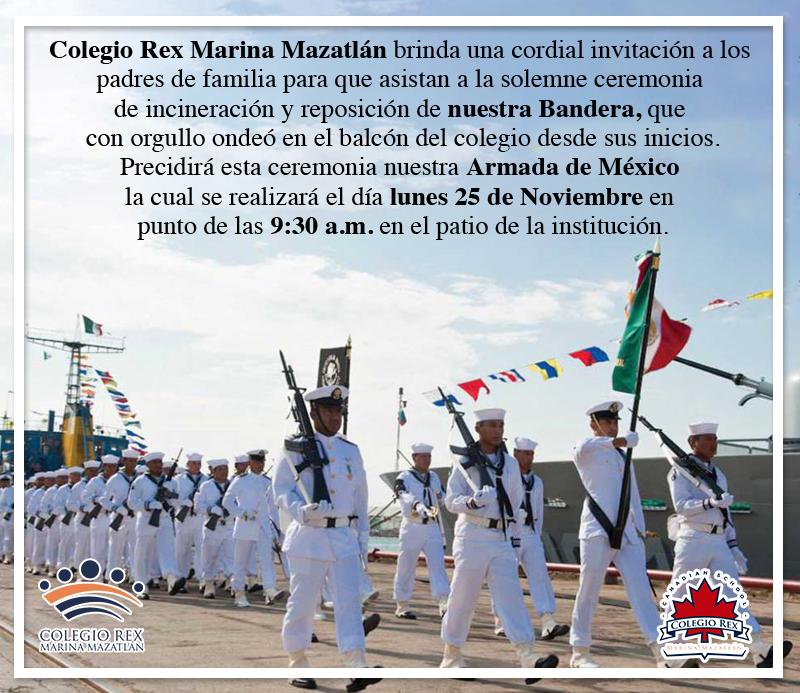 Invitación a ceremonia solemne de incineración de Bandera Mexicana